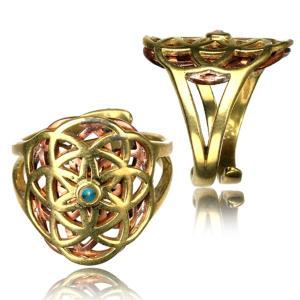 Ring i Mässing - Flower of Life med Turkos
