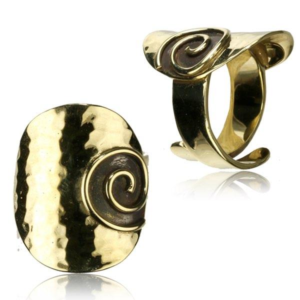 Ring i Mässing - guldig spiral