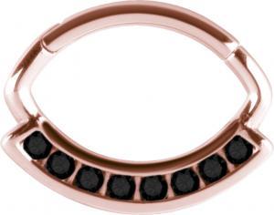 Septum/Daith Clicker Roséguld med svarta kristaller