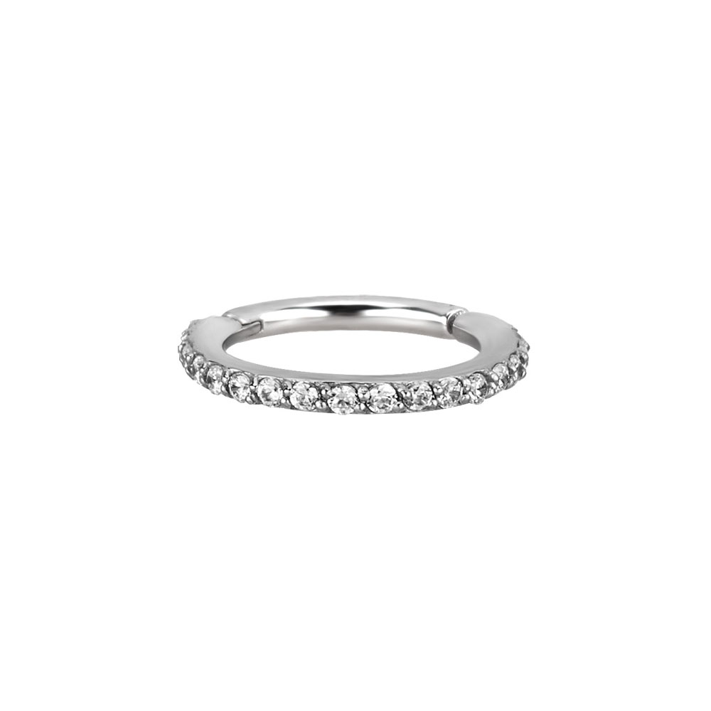 Clicker Ring till piercing - Vita Kristaller