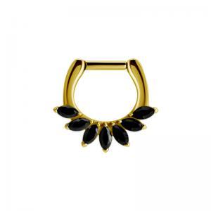 Septum Clicker - Guldpläterat stål med svarta kristaller