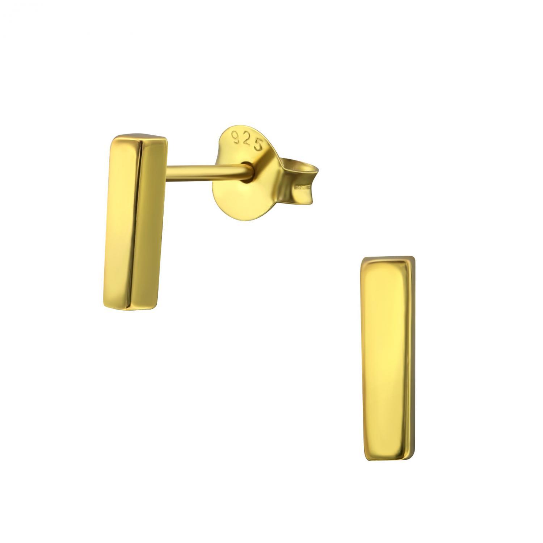Örhängen Studs - Gold Rectangle