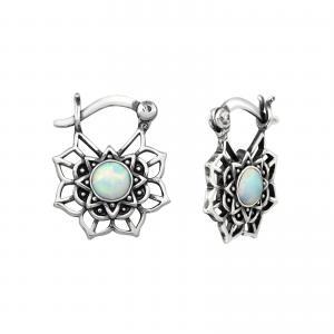 Silverörhängen - Mandala - Vit Opalit