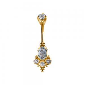 Navelsmycke, guldigt stål med vita kristaller