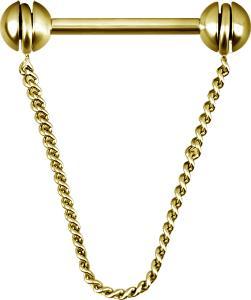 Chain barbell till bröstvårta, Golden steel
