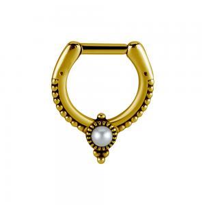 Septum Clicker - Guld Pvd - Piercingsmycke med pärla