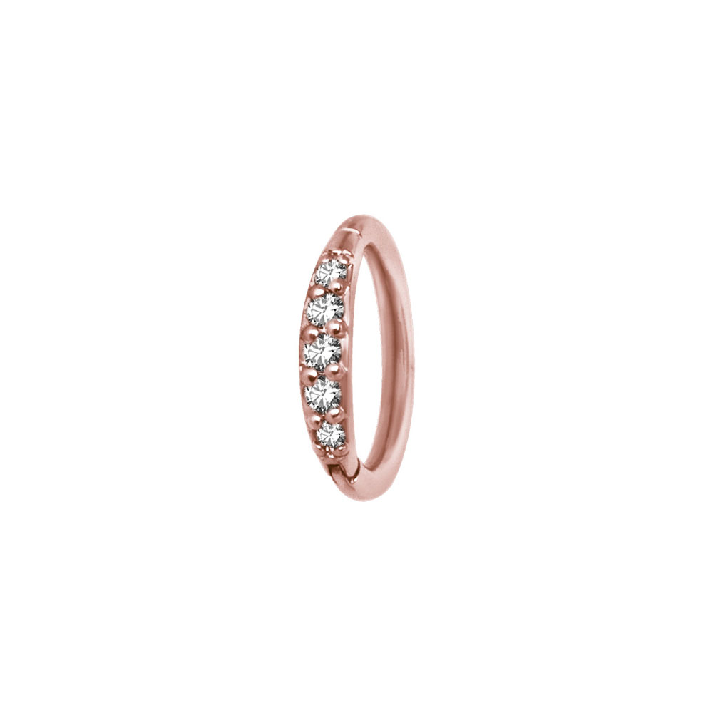 Clicker Ring - Roséguld - Piercingsmycke med vita kristaller