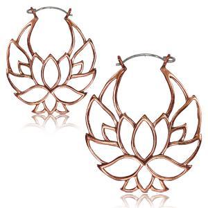 Örhängen i Koppar - Lotusblomma