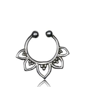 Fake Septum i äkta silver - Lotus Blomma