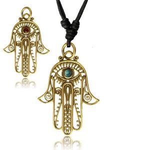 Halsband, Mandala i mässing - Fatimas hand - turkos