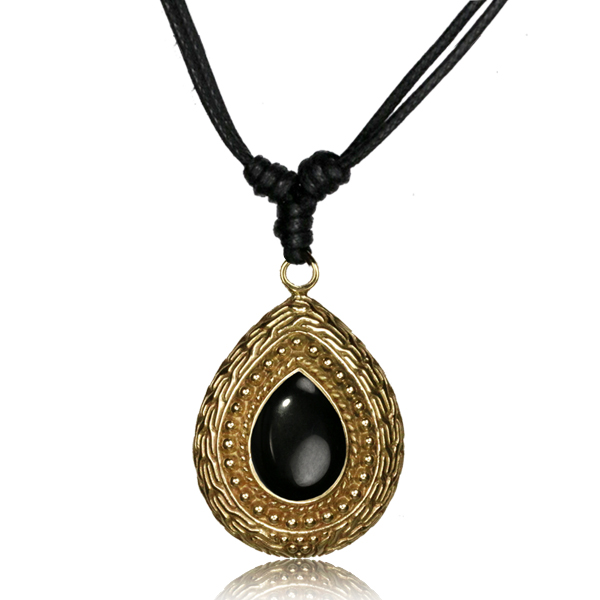 Halsband i mässing - svart sten