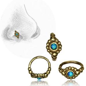 Näsring i mässing, Blue Opal