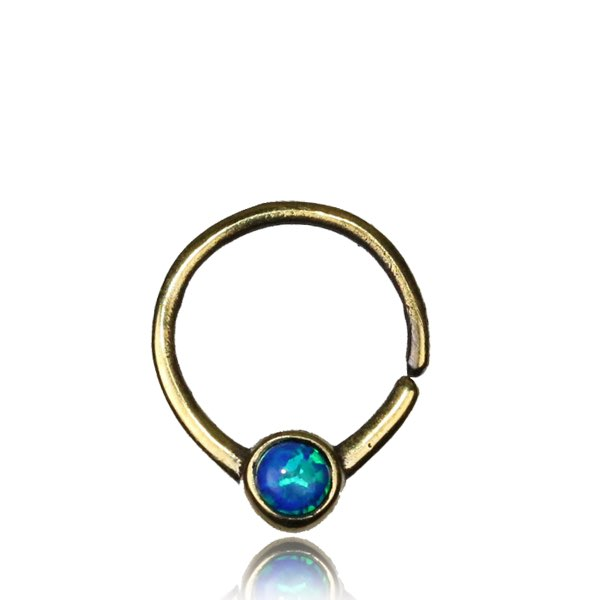 Septumsmycke i mässing, Blue Opal
