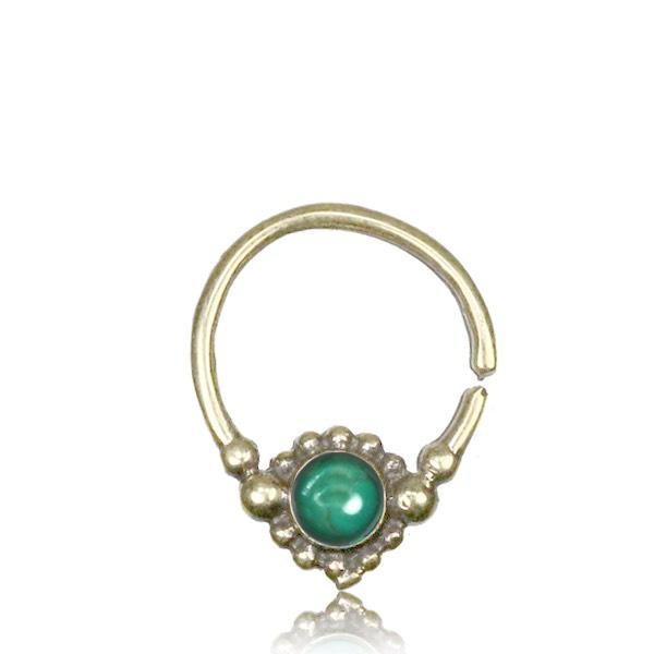Septumsmycke i mässing, Emerald