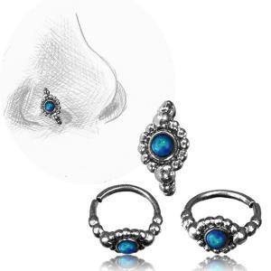 Näsring i Äkta Silver, Blue Opalit