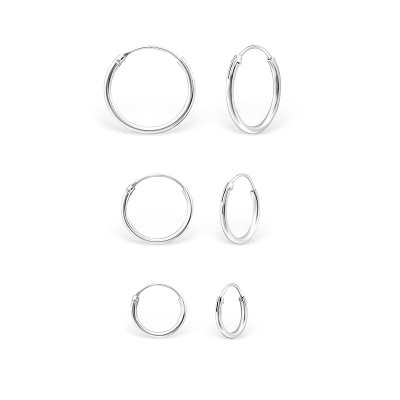 3 par Hoops-örhängen - Släta silverringar