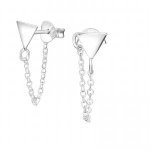 Silverörhängen - Triangel med kedja