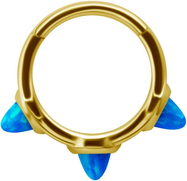 Golden Steel Clicker - Blå Opal
