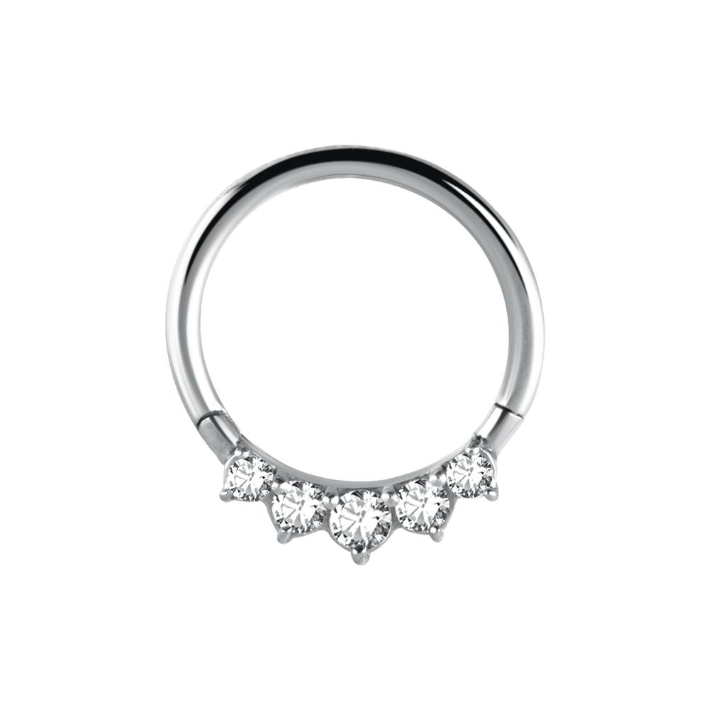 Septum / Daithsmycke - Vita kristaller - Tunn ring till piercing