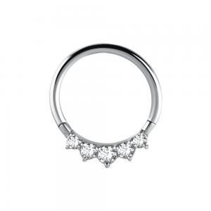 Clicker ring - Vita kristaller - Tunn ring till piercing