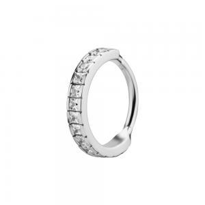 Clicker Ring i kirurgiskt stål - vita fyrkantiga Kristaller