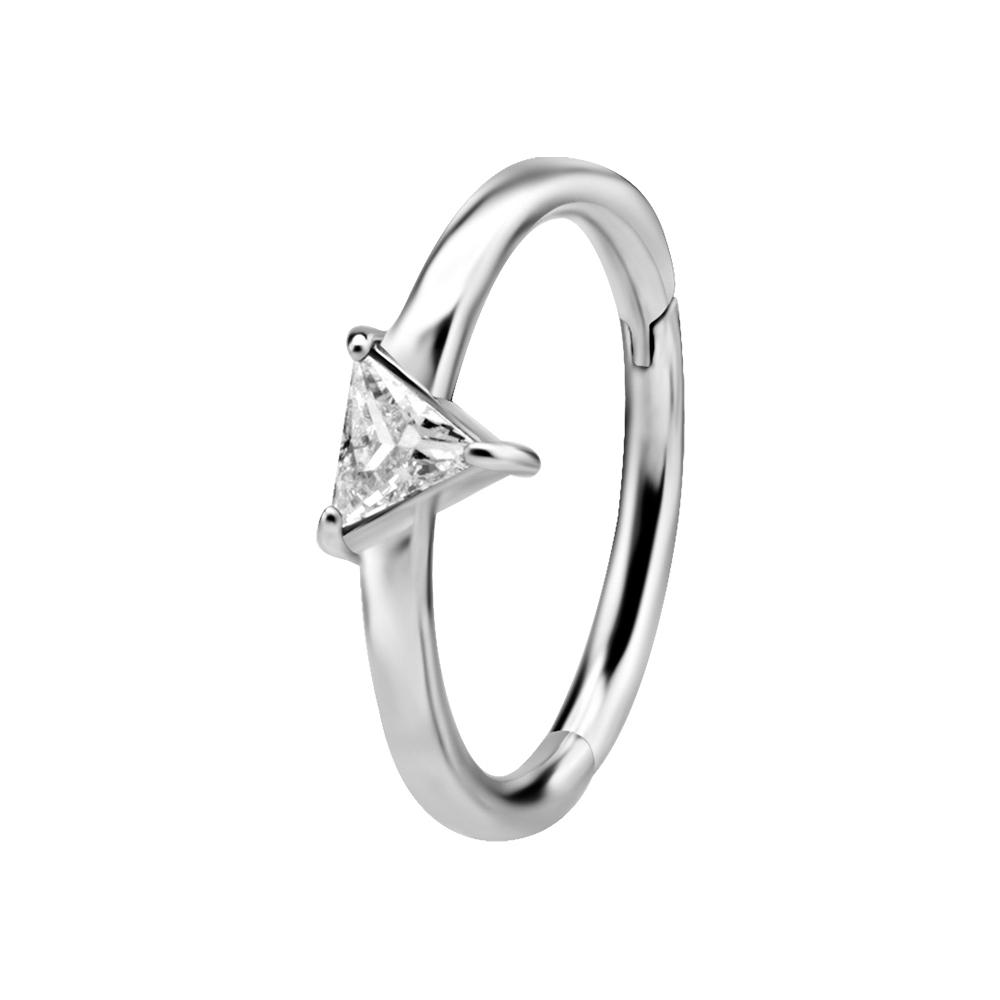 Ring till piercing - Silvrig Clicker med trekantig kristall