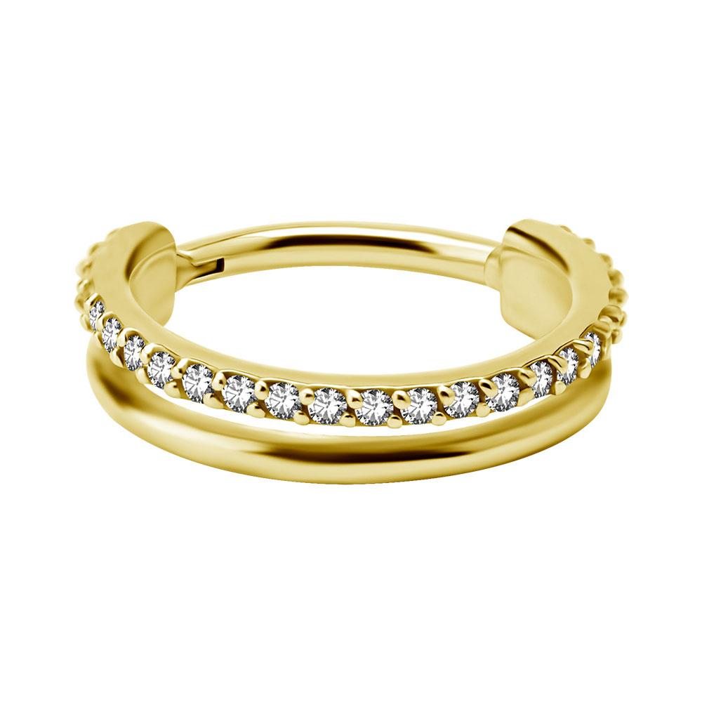 Dubbel Ring till piercing - 24k-guld Pvd plätering - Clicker