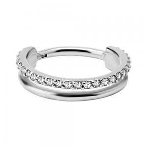 Dubbel Ring till piercing - Clicker med vita kristaller