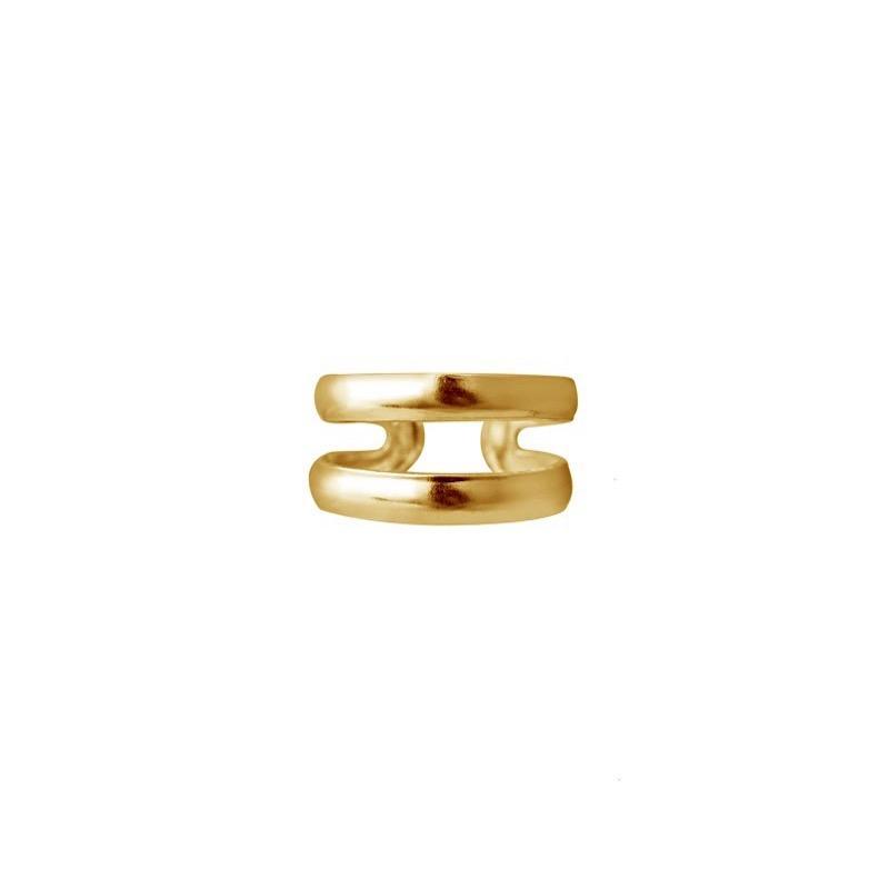 Guldpläterad Ear cuff - Dubbla ringar