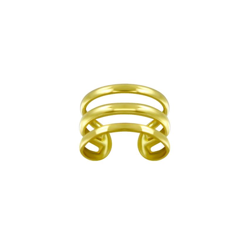Guldpläterad Ear cuff - Trippla ringar