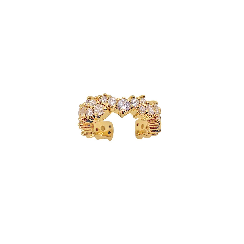 Guldpläterad Ear cuff - Vita Kristaller