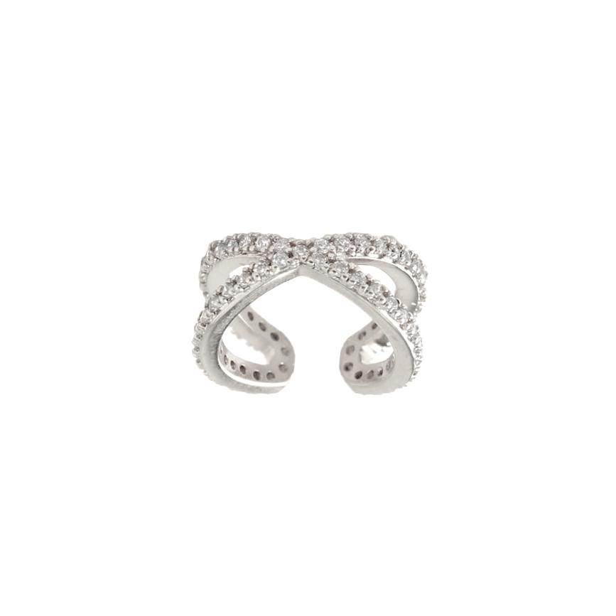 Ear cuff - Äkta silver - Ring med kristaller