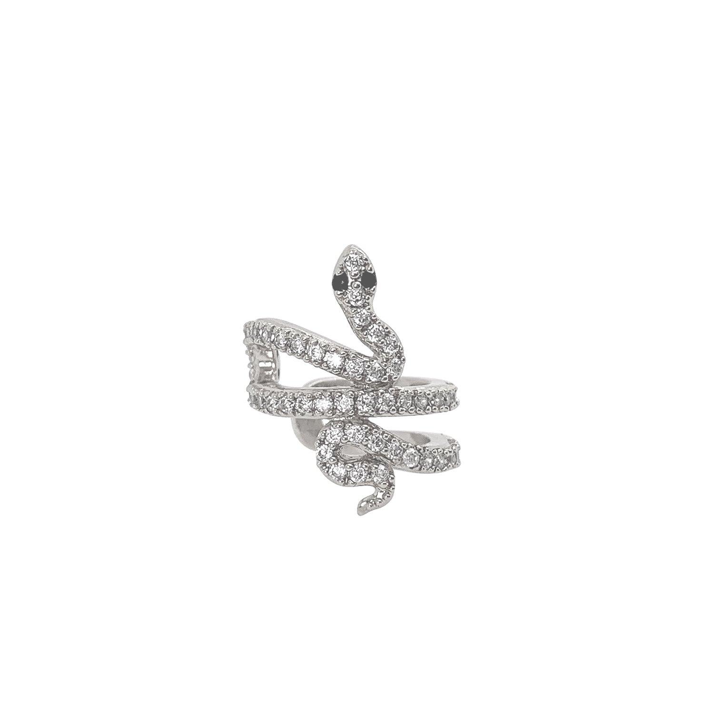 Ear cuff - Äkta silver - Orm med kristaller