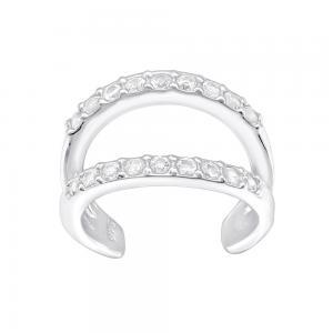 Ear cuff  - Dubbel Ring i Äkta silver med kristaller