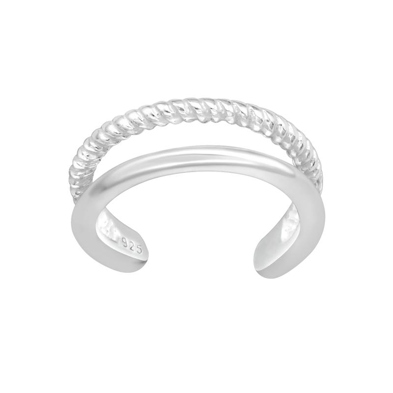 Ear cuff - Äkta silver - Tunna dubbla ringar