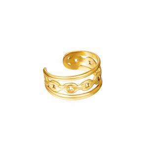 Ear cuff - 18k-guldpläterat kirurgiskt stål - Tre ringar