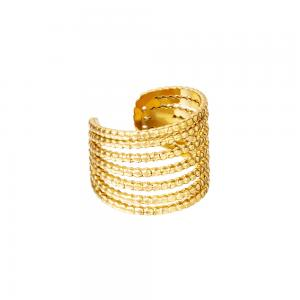 Ear cuff - 18k-guldpläterat kirurgiskt stål - Sju ringar