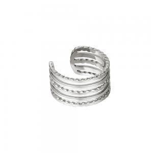 Ear cuff - Silvrigt kirurgiskt stål - Fem ringar