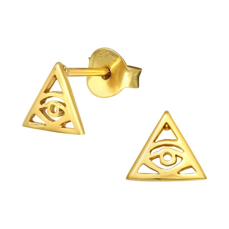 Guldörhängen - Triangel med öga - Ear studs