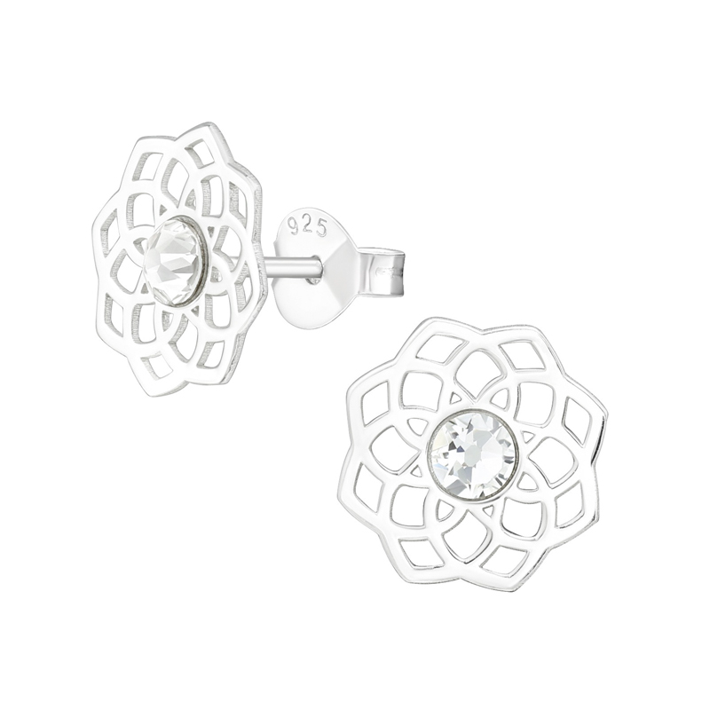 Örhängen - Mandala med kristall - Äkta silver