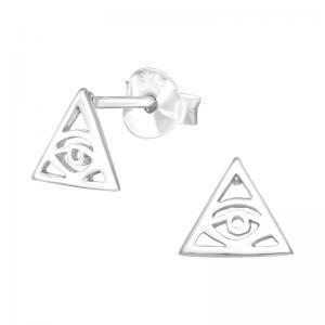 Studs-örhängen - Triangel med öga - Äkta silver