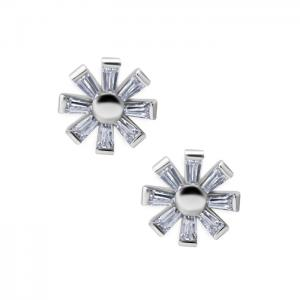 Stiftörhängen - Blomma med kristaller - Kirurgiskt stål
