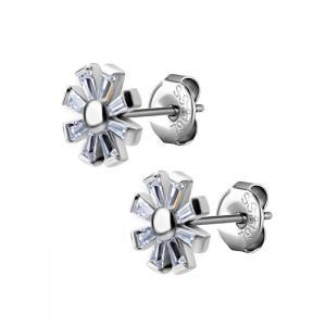 Blomma med vita kristaller - Studs - Örhängen i kirurgiskt stål