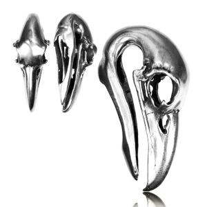 Vikter / Ear weights - Vit mässing Bird Skull