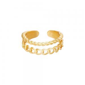 Guldring i kirurgiskt stål - Ring med justerbar storlek - Kedja