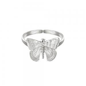 Silverring i kirurgiskt stål - Ring med justerbar storlek - Fjäril