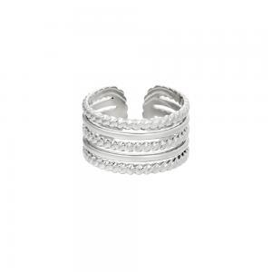 Silverring i kirurgiskt stål - Ring med justerbar storlek