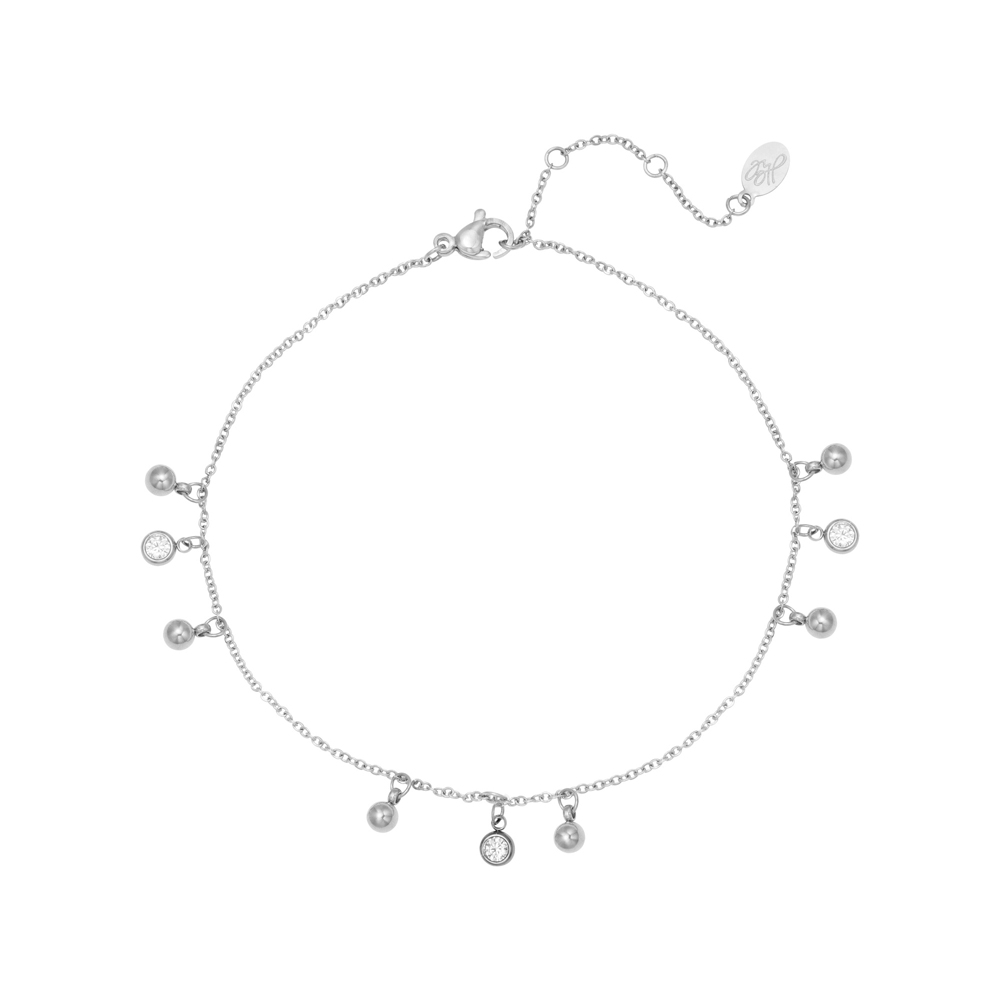 Fotlänk - Vristlänk - Tunn kedja med kristaller