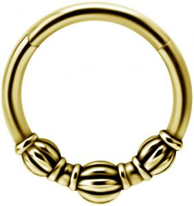Guldig Clicker ring - Piercingsmycke - Bali
