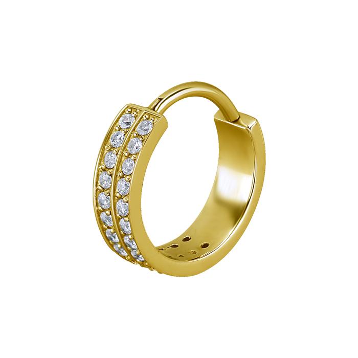 Guldring - 24k Guld plätering med vita kristaller